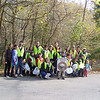 10.23.11 Patapsco River Cleanup at Orange Grove in Patapsco State Park : The Friends of Patapsco Valley & Heritage Greenway sponsored another cleanup on Sunday, October 23, on a beautiful morning along the Patapsco River in the Orange Grove Area of Patapsco State Parl!  Special thanks to Park Ranger Jamie Petrucci for leading the group to areas that desperately needed cleaned and Principal Debbie Rosenberg, of Beit Tikvah, who helped us partner this cleanup event with Kesher School students and their families!  Most of this debris was a direct result of Tropical Storm Lee which on September 7th the river rose pretty high on the river banks which is why you found so much debris hanging in the trees!  With 30 volunteers, we were able to remove an estimated 400 pounds of trash and debris from the Patapsco River watershed in just two hours!  In case you didn't hear at the end of our activity, besides the usual plastic bags, aluminum cans, food wrappers and glass/plastic bottles, here are some of the more interesting things we collected:  a boot, tires, pair of pants, boxer shorts, glove, fruit roll up wrapper, Slim Jim wrapper, lots and lots of plastic bag pieces, shoe laces, green rubber mat, pair of socks, drinking straws, fork, radio, sand bags, phone, bunch of electrical wires, beer cans, detergent bottle, the back of a Progressive Insurance card, foam cushion, hub cap, sweater, flip flop, center block, broken glass, orange construction barrier barrel, soccer ball, big black plastic pipe, futon mattress, trash can lid, part of a bridge and a woolen cap from the Scottish Islands!  Special thanks again to all our wonderful volunteers who made a big difference in only a couple of hours!