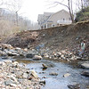 3.27.12 Recon of Daniels trail : Stream Watch Coordinator Jeff Klein and UMBC student Christopher Zink check Daniels area to be a possible cleanup location in the future.  Stream Cleanup Director, Betsy McMillion was notified by one of our stream watchers about the heavy erosion taking place here.  Most of the metal in the area was already collected (see pic) by the Friends of the Patapsco group.  Other than the metal, this area was relatively clean and free of bottles, plastic, fast-food trash, etc.