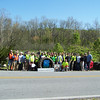 4.13.12 Deep Run Cleanup Along Race Road With Constellation Energy & Lockheed Martin Employees in Elkridge : 47 volunteers from Contellation Energy & BGE, Lockheed Martin, PHG and students from HCC & Towson helped us clean up about 1.5 TONS of debris from the Patapsco Watershed!! What we found was usual stream trash including a lot of plastic & glass bottles, food wrappers, cans, liquor bottles & flasks, styrofoam pieces, treated wood & scrap metal. We also recovered 65 tires, 21 w/rims--9 lg. truck, 10 small truck & 46 car tires, including racing slicks. Some of the more interesting items found and removed were: a reel of barbed wire, a 3-speed bike covered in moss, a softball, a boot, toy hatchets, a flip flop, oyster shells, a rusted propane tank, a motor, a fiberglass boat cresting a dam, an upside down boat embedded in the stream, a green hulk fist & a farm gate. Nature spotting included: deer horns & a hoof, a tiny snake, ants, bees & butterflies. Thank you all for the help--we couldn't have done all this without you!
