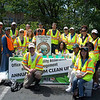5.18.12 Herbert Run Stream Cleanup With MTA Employees Near Arbutus Fire Station : The Patapsco Heritage Greenway sponsored a stream cleanup in the Arbutus Area along a section of Herbert Run, just behind the Arbutus Fire Station parking lot. Thanks to our wonderful partners, the Maryland Transit Administration (who brought along several energetic volunteers!) and some of our other PHG friends, we removed an amazing 525 pounds from this watershed area! This area is one of our most troublesome areas with litter. It is difficult picking up much of the small trash items there as a result of litter washed down nearby storm drains and from illegal dumping. PHG has been working with the Arbutus and Halethorpe communities to clean up this area, and what a difference our volunteers made in just a few hours! Aside from the usual bottles, cans, plastic bags and food wrappers we usually find in our cleanups (washed down storm drains from litter in the streets and parking lots), volunteers also removed Styrofoam chunk pieces, a bicycle seat, iron pipes &amp; Rebar, a paint bucket (one of our ingenious volunteers reused it to collect trash!), large amount of broken glass, a blue tarp, the back of a toilet, a flip flop, an old army tarp, many pieces of plastic bags tied around tree limbs and bushes, a foam chair cushion, a car scissor jack, clothing hangers, a purple silk flower, dryer sheets, a 4 x 4 piece of lumber, an abundance of cardboard that was left to a dumpster which blew into the stream, a ceramic coffee mug buried in the dirt, fluorescent tube pieces, and Yvette found a $20 bill and went to the nearby ice cream shop to buy ice cream for her partner!!! Some wonders of nature included: a male mallard duck--referred to as a quacker bird, many different song birds, white butterflies and even a few fish in the stream. Special thanks to our Stream Captain Team members Betsy McMillion, Jeff Klein and Pete McCallum who led the group. Finally, we are so grateful to Nadine Pierre-Charles from the Maryland Transit Administration! She came to our Stream Captain Training back in March and efficiently recruited several employees and helped organize today's event. We appreciate the great work of all our volunteers for a job well done!