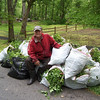 5.6.12 Garlic Mustard Challenge 2012 : Patapsco Heritage Greenway sponsored its 13th annual Garlic Mustard Challenge on Sunday, May 6th, focusing on removing invasive garlic mustard in the Orange Grove Area of Patapsco State Park!  Over 80 volunteers joined in to make today's event a success.  For the first two hours, 7 teams competed against each other removing 961 pounds of garlic mustard in just two hours in the lower Patapsco watershed!  Special thanks to all of our wonderful partners who helped sponsor this event including the Baltimore County D.E.P.S., Howard Countyy DPW Enviromental Services, Constellation Energy and R.E.I.   PHG has made significant progress in the last 13 years of this event removing the large patches of garlic mustard that once existed.  Although garlic mustard is still visible in the park, it is in smaller patches thanks to volunteers who have competed in the challenge over the years, as well as local students who help remove garlic mustard during invasive plant removal events!  What a difference these volunteers made in just a few hours! First place winner of &quot;Most pounds pulled per person&quot; goes to Arbutus resident, Brian Schexnayder, who removed an amazing 294 pounds all by himself!  Brian's one-man team the &quot;most pounds pulled&quot; and is featured on our cover photo!  For this year's chef challenge, the first place adult chef winner was Alex Streat of Columbia with his &quot;garlic mustard lasagna.&quot;  The first place child chef winner was Georgia Briggs of Ellicott City with her &quot;Patapsco pasta.&quot;  A special thanks to all of our exhibitors who shared their knowledge of watershed issues with the participants:  Sonja Schmitz, Wanda MacLachlan, Lauren McMillion, Jeff Klein, Vanessa Beauchamp, Glenda Weber, Angeles Morales, Melody Nevins, and Kathy Swan!   A special thanks to our main Garlic Mustard Challenge team who spent countless hours getting ready for this event including Betsy McMillion, Jennifer Griffiths, Chris Fiorito, Anita Kraemer, Pete McCallum, Jeff Klein, Lucy McKean, Sam Miller and Lisa Wingate!  And all the event helpers from PHG, HCC and Towson State University and countless other wonderful volunteers!!!  Congratulations again to all the pullers and other volunteers who made this year's Garlic Mustard Challenge another fun and educational event!